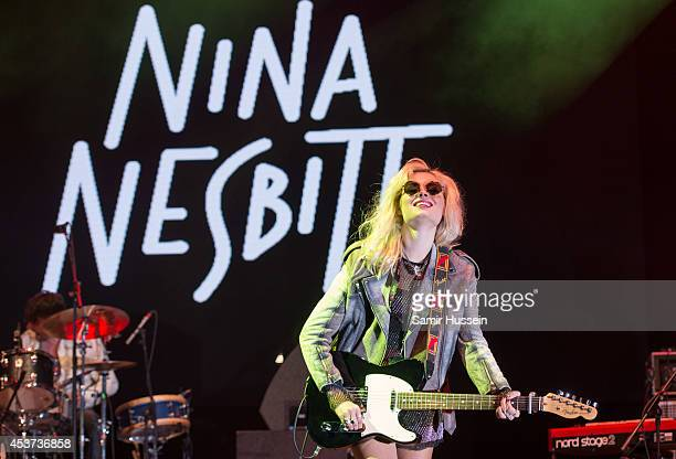 Nina Nesbitt performs on Day 2 of the V Festival at Hylands Park on August 17 2014 in Chelmsford England