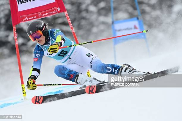Nina O Brien competes in the first run of the Women's Giant Slalom event during the FIS Alpine ski World Cup in Lenzerheide, on March 21, 2021.