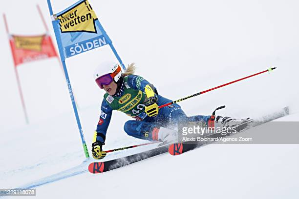 Nina O Brien of USA in action during the Audi FIS Alpine Ski World Cup Women's Giant Slalom on October 17, 2020 in Soelden, Austria.