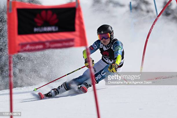 Nina O Brien of USA in action during the Audi FIS Alpine Ski World Cup Team Parallel Slalom on March 19, 2021 in Lenzerheide, Switzerland.