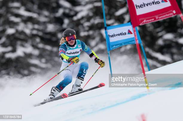 Nina O Brien of USA in action during the Audi FIS Alpine Ski World Cup Women's Giant Slalom on March 21, 2021 in Lenzerheide, Switzerland.
