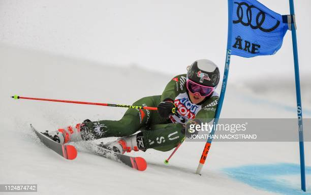 US' Nina O'Brien competes in the first run of the Women's Alpine slalom event at the 2019 FIS Alpine Ski World Championships at the National Arena in...