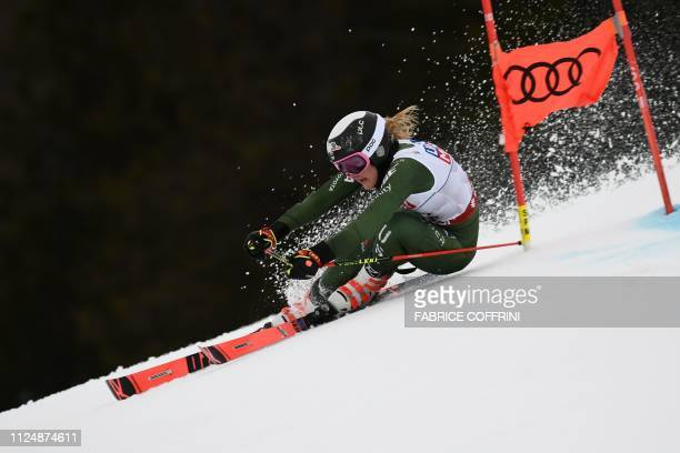 US Nina O'Brien competes in the first run of the Women's Giant slalom event at the 2019 FIS Alpine Ski World Championships at the National Arena in...