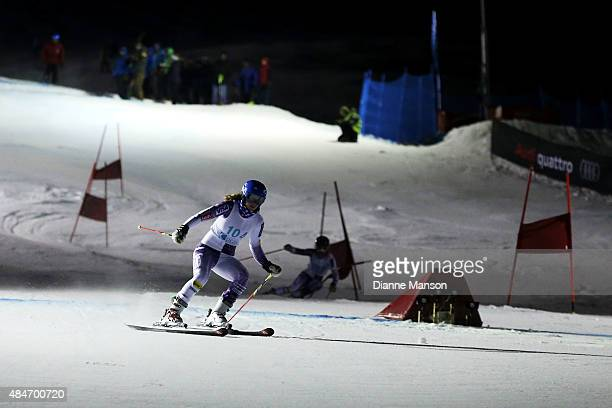 Nina O'Brien of the United States competes in the Slalom Parallel during the Opening Ceremony for the Winter Games NZ at Coronet Peak on August 21...