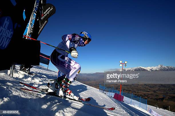 Nina O'Brien of the United States competes in the Slalom time trials ahead of the Opening Ceremony for the Winter Games NZ at Coronet Peak on August...