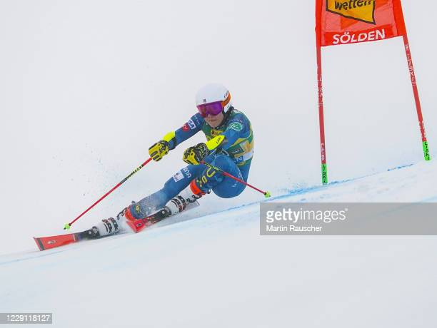 Nina O'Brien of United States of America competes during the Women's Giant Slalom of the Audi FIS Alpine Ski World Cup at Rettenbach glacier on...
