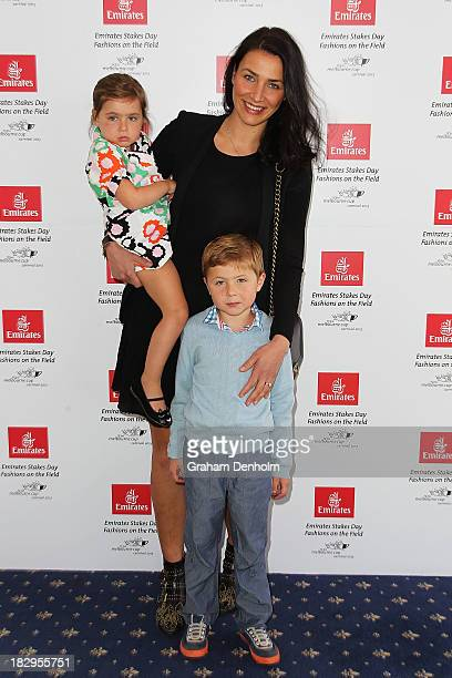 Nina O'Brien wife of trainer Danny O'Brien poses with their children at the Emirates Stakes Day Fashion on the Field Launch at Flemington Racecourse...