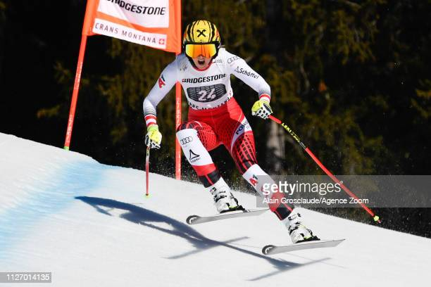 Nina Ortlieb of Austria competes during the Audi FIS Alpine Ski World Cup Women's Alpine Combined on February 24 2019 in Crans Montana Switzerland