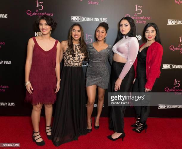 Nina Ozuna Jackie Ayala Rosi Alvarez Zoey Luna Ashley Lopez attend HBO screening and presentation of 15 A QUINCEANERA STORY at The Garage