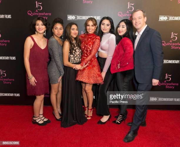 Nina Ozuna Rosi Alvarez Jackie Ayala Thalia Zoey Luna Ashley Lopez Matt O'Neill attend HBO screening and presentation of 15 A QUINCEANERA STORY at...