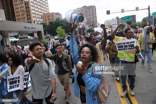 Nina Paige of Homewood Pennsylvania leads a protest a day after the funeral for Antwon Rose II that blocked streets on June 26 2018 in downtown...