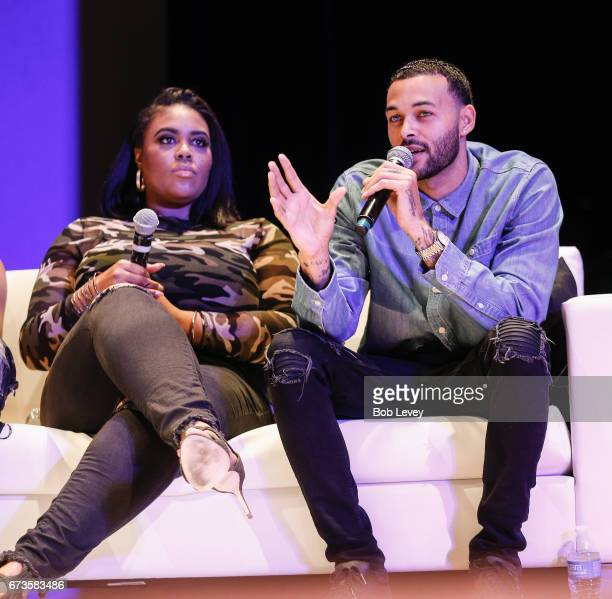 Nina Parker and Don Benjamin discuss STI's and STD's at TSU as AHF presents the Know Your Status tour on April 26 2017 in Houston Texas