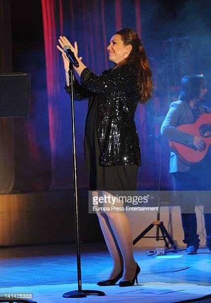 Nina Pastori several months pregnant performs in concert to present her lastest album 'La orilla de mi pelo' at Palau de la Musica on March 3 2012 in...