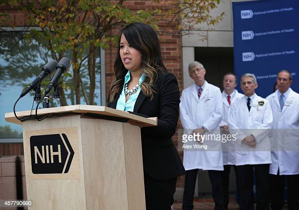 Nina Pham , the nurse who was infected with Ebola from treating patient Thomas Eric Duncan, speaks during a news briefing as Director of the National...