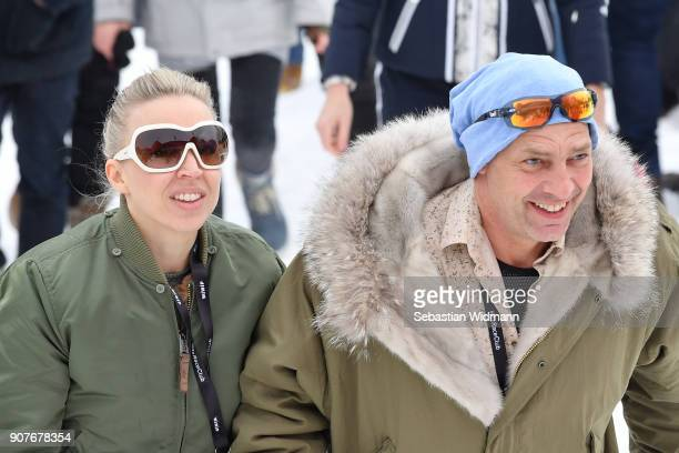 Nina Proll and Gregor Bloeb attend the Hahnenkamm race on January 20 2018 in Kitzbuehel Austria