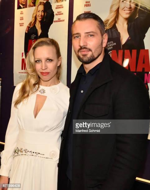 Nina Proll and Murathan Muslu pose during the 'Anna Fucking Molnar' Premiere at Gartenbau Kino on November 22 2017 in Vienna Austria