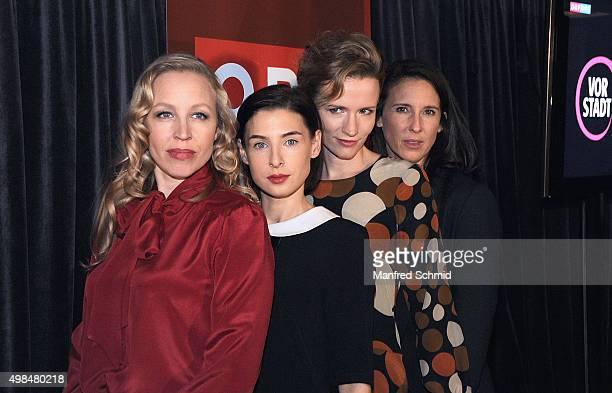 Nina Proll Martina Ebm Adina Vetter and Maria Koestlinger pose during the 'Vorstadtweiber' photo call at 25Hours Hotel Vienna on November 23 2015 in...