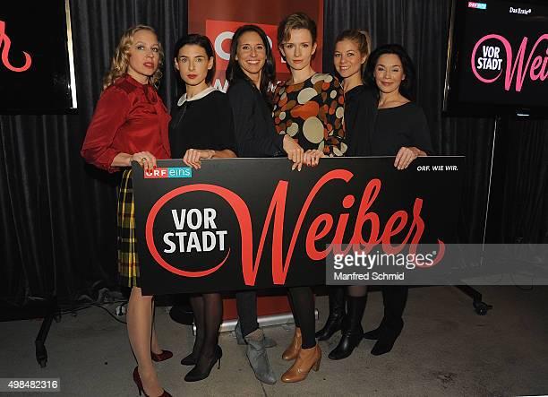 Nina Proll Martina Ebm Maria Koestlinger Adina Vetter Hilde Dalik and Julia Stemberger pose during the 'Vorstadtweiber' photo call at 25Hours Hotel...