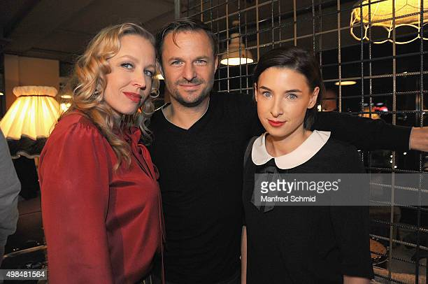 Nina Proll, Philipp Hochmair and Martina Ebm pose during the 'Vorstadtweiber' photo call at 25Hours Hotel Vienna on November 23, 2015 in Vienna,...