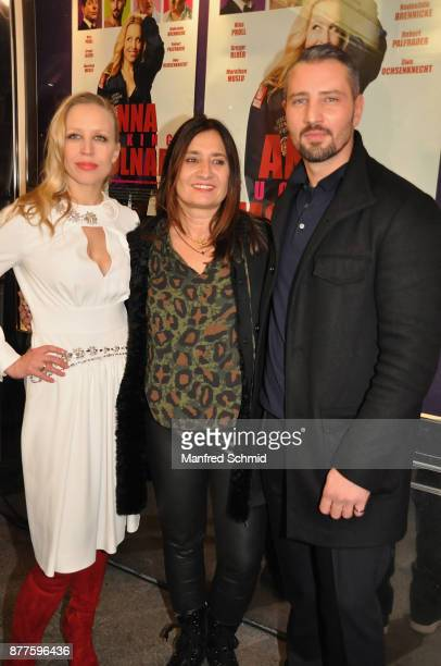 Nina Proll Sabine Derflinger and Murathan Muslu pose during the 'Anna Fucking Molnar' Premiere at Gartenbau Kino on November 22 2017 in Vienna Austria
