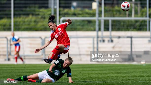Nina Raecke of Wolfsburg in action against Valentina Limani of Frankfurt during the 2 Frauen Bundesliga match between 1 FFC Frankfurt II and VfL...