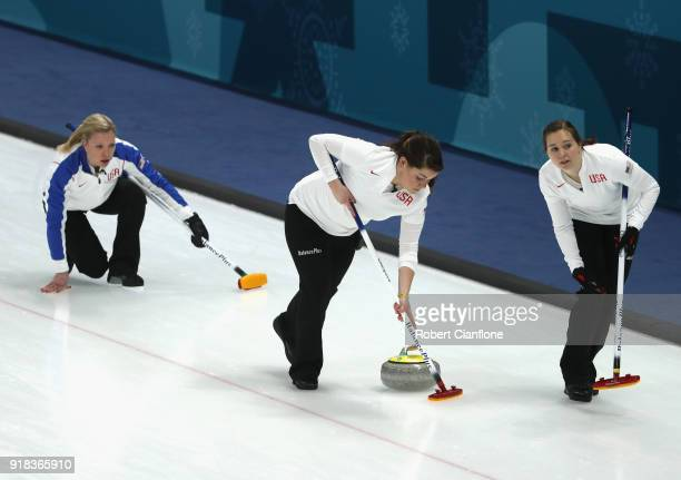 Nina Roth Becca Hamilton and Aileen Geving of th United States compete during the Curling Women's Round Robin Session 2 held at Gangneung Curling...