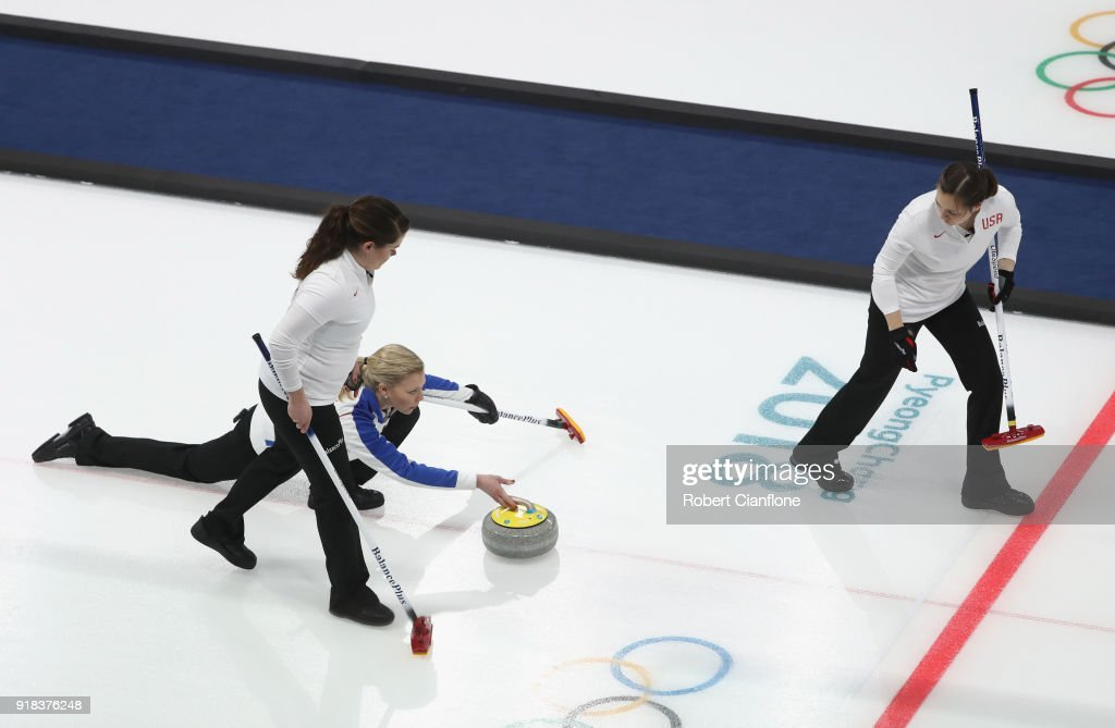 Nina Roth, Becca Hamilton and Aileen Geving of the United States compete during the Curling Women's Round Robin Session 2 held at Gangneung Curling Centre on February 15, 2018 in Gangneung, South Korea.