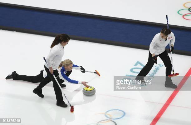 Nina Roth Becca Hamilton and Aileen Geving of the United States compete during the Curling Women's Round Robin Session 2 held at Gangneung Curling...