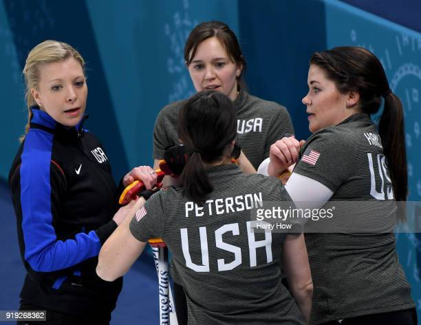 Nina Roth speaks with Aileen Geving Tabitha Peterson and Becca Hamilton of the United States in a match against Canada during the Women's Curling...