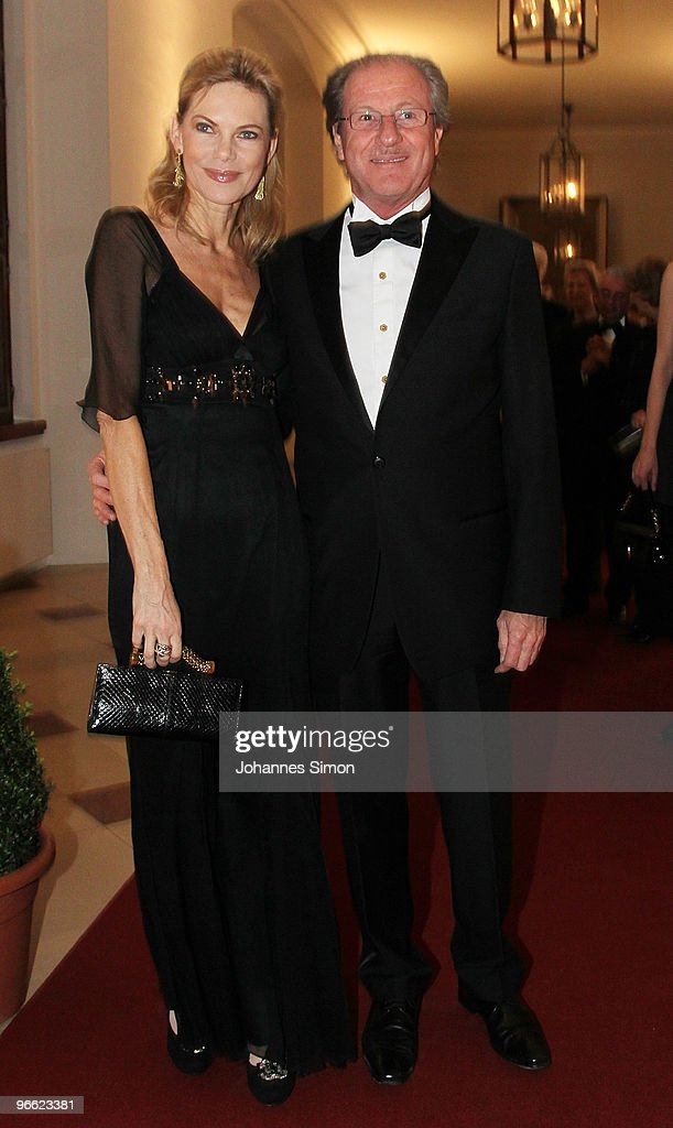 Nina Ruge (L) and Wolfgang Reitzle arrive for the Hubert Burda Birthday Reception at Munich royal palace on February 12, 2010 in Munich, Germany.