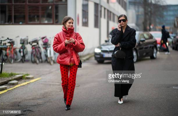 Nina Sandbech and Katarina Petrovic is seen outside Baum und Pferdgarten during the Copenhagen Fashion Week Autumn/Winter 2019 Day 3 on January 31...