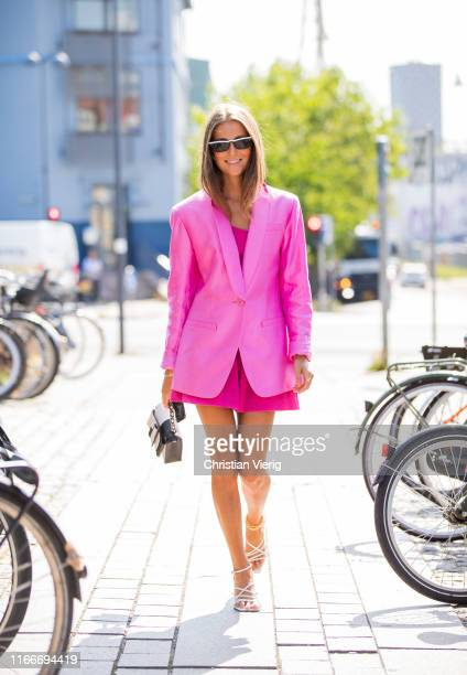 Nina Sandbech is seen wearing pink blazer outside Freya Dalsjø during Copenhagen Fashion Week Spring/Summer 2020 on August 07, 2019 in Copenhagen,...