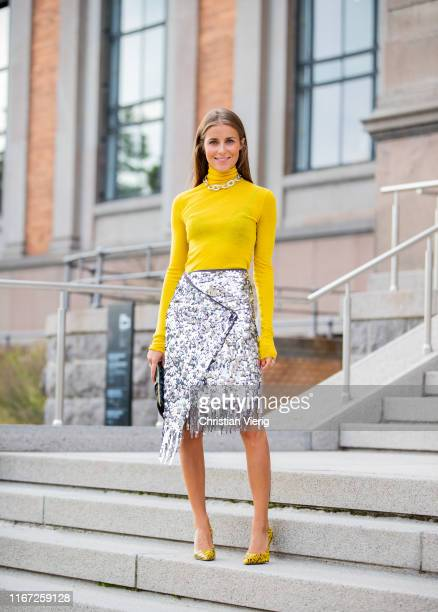 Nina Sandbech is seen wearing yellow turleneck silver skirt with fringes outside Samsøe Samsøe during Copenhagen Fashion Week Spring/Summer 2020 on...
