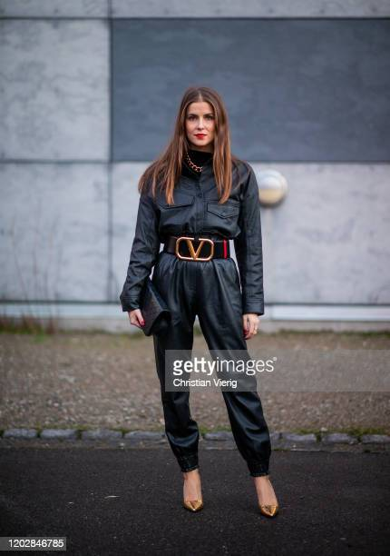 Nina Sandbech seen wearing leather overall Valentino belt outside Stine Goya during Copenhagen Fashion Week Autumn/Winter 2020 Day 2 on January 29...