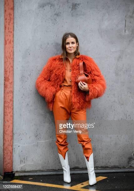 Nina Sandbech seen wearing orange pants, button shirt, faux fur jacket, bag outside Carcel on Day 1 during Copenhagen Fashion Week Autumn/Winter 2020...
