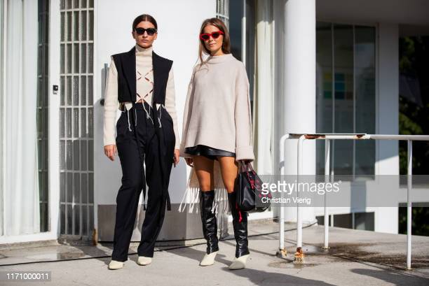 Nina Sandbech wearing oversized knit two tone boots leather shorts and Katarina Petrovic wearing turtleneck knit black pants vest seen during Oslo...