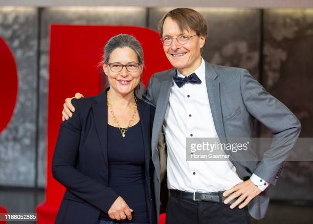 Nina Scheer and Karl Lauterbach are pictured at the presentation of the candidates for the SPD party chairmanship on September 04, 2019 in...