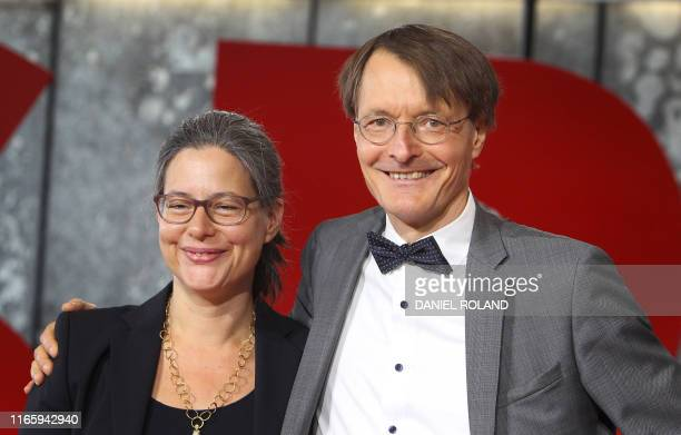 Nina Scheer and Karl Lauterbach candidates to become coleaders of Germany's Social Democratic Party SPD are pictured during a media presentation in...