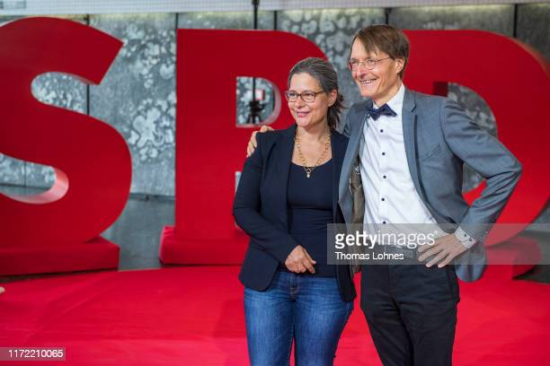 Nina Scheer and Karl Lauterbach who are running for the dual party leadership position of the German Social Democrats attend the opening event of...