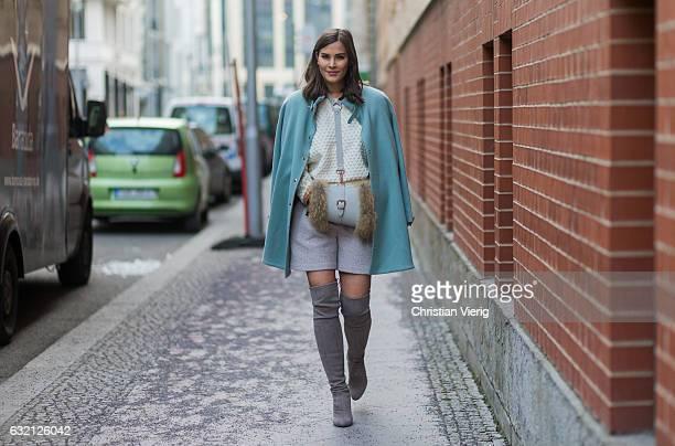 Nina Schwichtenberg wearing a mint coat bag at Marina Hoermanseder during the MercedesBenz Fashion Week Berlin A/W 2017 at Kaufhaus Jandorf on...