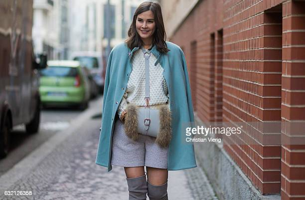 Nina Schwichtenberg wearing a mint coat bag at Marina Hoermanseder during the MercedesBenz Fashion Week Berlin A/W 2017 at Kaufhaus Jandorf on...