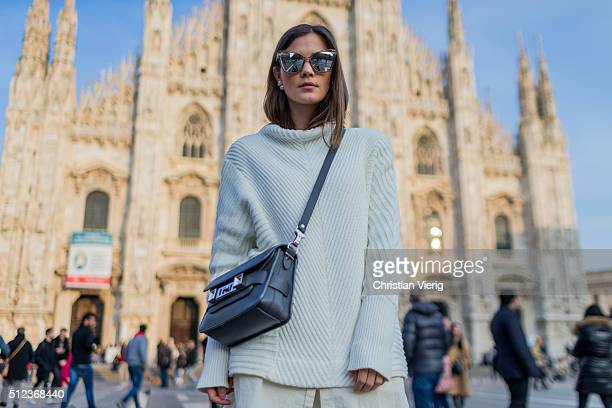 Nina Schwichtenberg wearing Escada pants Proenza Shouler bag Stella McCartney shoes seen outside during Milan Fashion Week Fall/Winter 2016/17 on...
