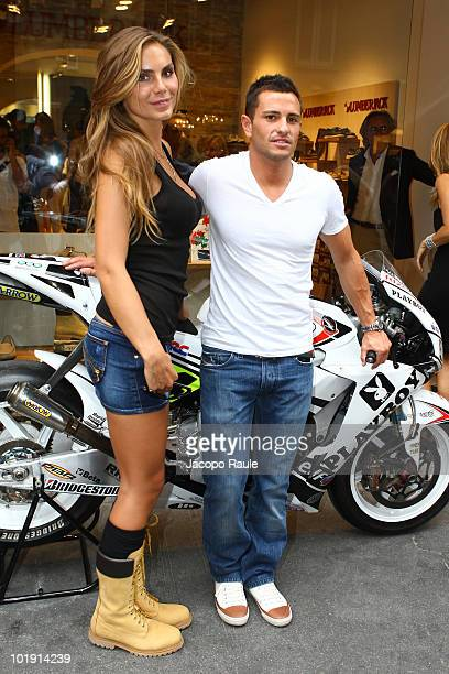 Nina Senicar and Randy De Puniet attend Lumberjack Flagship Store Opening on June 8 2010 in Milan Italy
