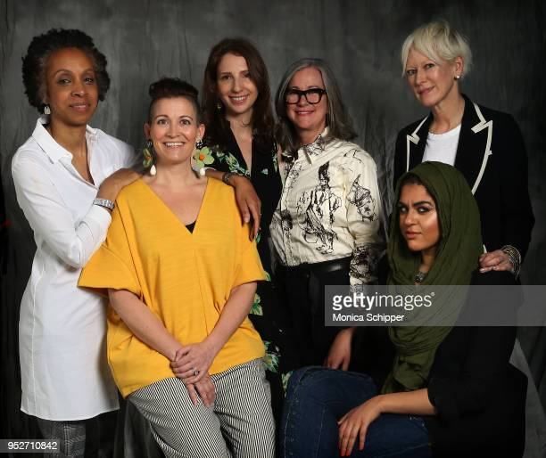 Nina Shaw Amy Emmerich Pam Wasserstein Colleen DeCourcy Joanna Coles and Amani AlKhatahtbeh pose for a portrait at 'Time's Up' during the 2018...