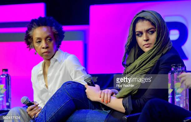Nina Shaw and Amani AlKhatahtbeh speak onstage at 'Time's Up' during the 2018 Tribeca Film Festival at Spring Studios on April 28 2018 in New York...