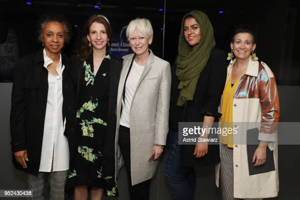 Nina Shaw Pam Wasserstein Joanna Coles Amani AlKhatahtbeh and Amy Emmerich attend 'Time's Up' during the 2018 Tribeca Film Festival at Spring Studios...