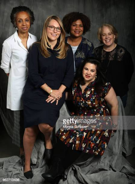 Nina Shaw Rachel L Tuchman Fatima Goss Graves Robbie Kaplan and Christy Haubegger pose for a portrait at 'Time's Up' during the 2018 Tribeca Film...