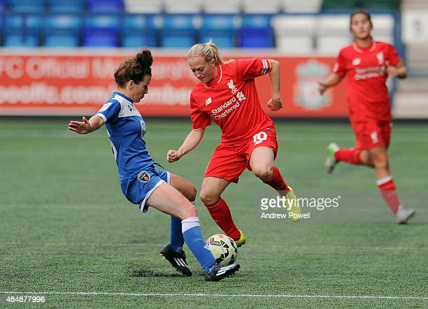 Nina Smorsgard of Liverpool Ladies competes Hannah Short of Bristol Academy Women during the Womens Super League match between Liverpool Ladies and...