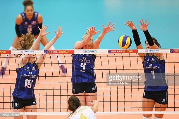 Nina Stojilkovic Christina Bauer and Helena Cazaute of France during the CEV European League match at Salle Colette Besson on June 11 2016 in Rennes...