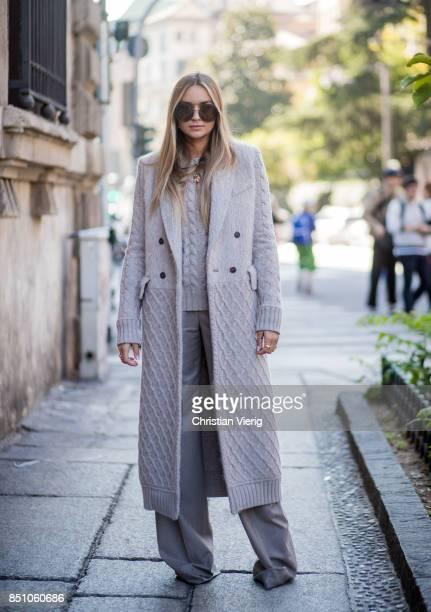 Nina Suess is seen outside Max Mara during Milan Fashion Week Spring/Summer 2018 on September 21 2017 in Milan Italy